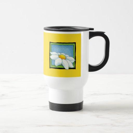 Taza del viaje del amarillo de la margarita
