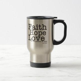 Taza del viaje del amor de la esperanza de la fe