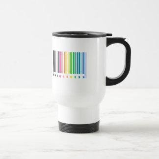 Taza del viaje del código de barras del arco iris