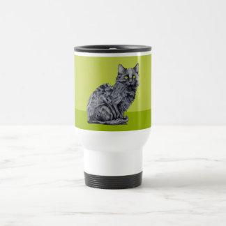 Taza del viaje del verde del gato negro