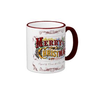 Taza del Victorian de las Felices Navidad