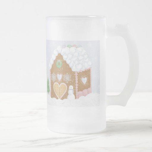 Taza del vidrio de la casa de pan de jengibre
