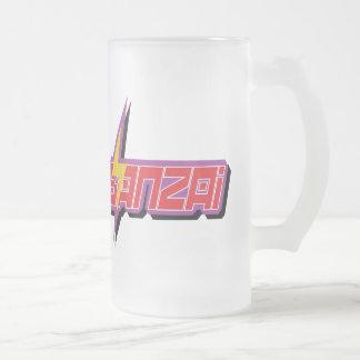 Taza del vidrio del logotipo del Banzai