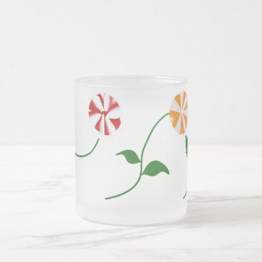 Taza del vidrio esmerilado de 3 flores