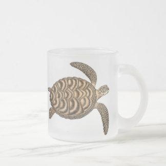 Taza del vidrio esmerilado de la tortuga de mar de