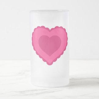 Taza del vidrio esmerilado del corazón del amor