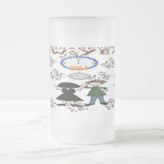Taza del vidrio esmerilado del fiesta del Año Nuev