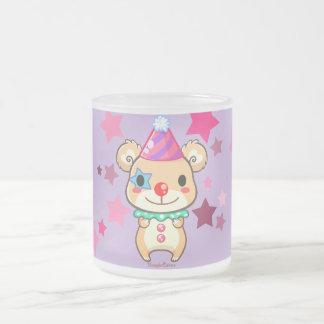 Taza del vidrio esmerilado del oso del payaso de
