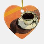 Taza del vintage de café, platillo, cuchara con la
