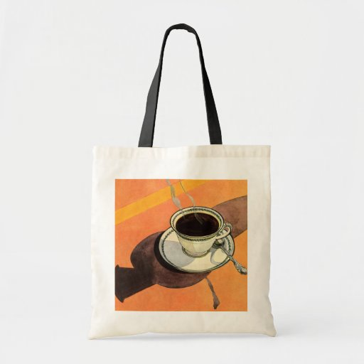 Taza del vintage de café, platillo, cuchara con la bolsa