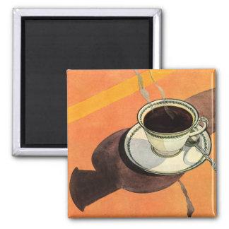 Taza del vintage de café, platillo, cuchara con la imán cuadrado