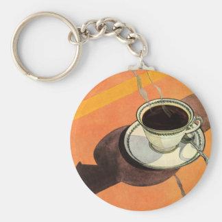Taza del vintage de café, platillo, cuchara con la llavero redondo tipo pin