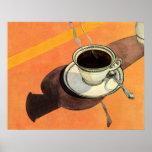 Taza del vintage de café, platillo, cuchara con la poster