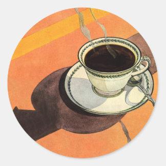 Taza del vintage de café, platillo, cuchara con la pegatina redonda
