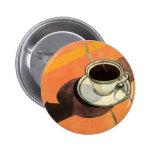 Taza del vintage de café, platillo, cuchara con la pin