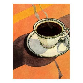 Taza del vintage de café, platillo, cuchara con la tarjetas postales