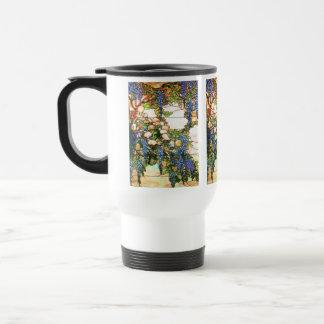 Taza del vitral de Tiffany de las glicinias