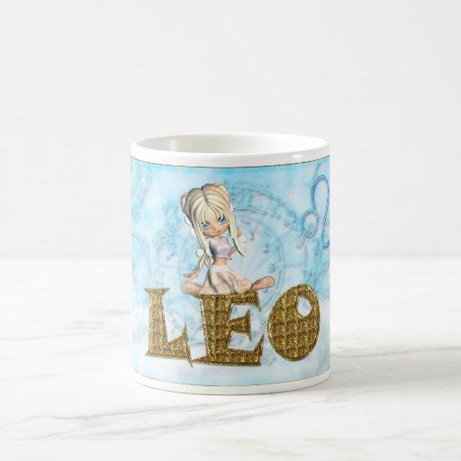 Taza del zodiaco de Leo, diamante, empanada del cu