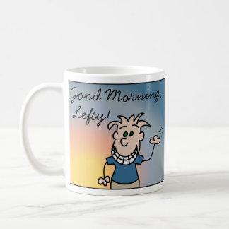 Taza del zurdo de la buena mañana