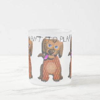 Taza desaliñada del perro (quiera jugar?)