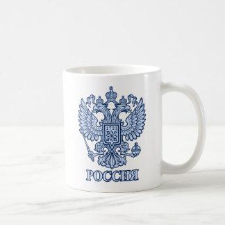 Taza dirigida doble rusa del emblema de Eagle [azu