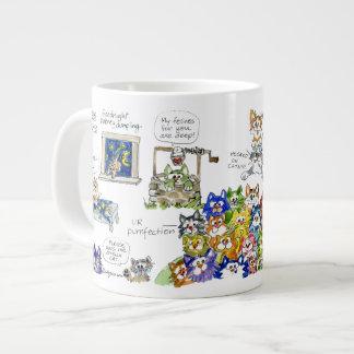 Taza divertida de los gatos del dibujo animado taza grande