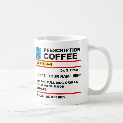 Taza divertida de Rx del cafeína del café de la