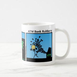 Taza divertida de Stickman del robo de un banco de