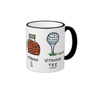 Taza divertida del dibujo animado del golf