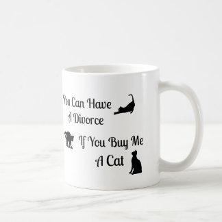 Taza divertida del divorcio del gato