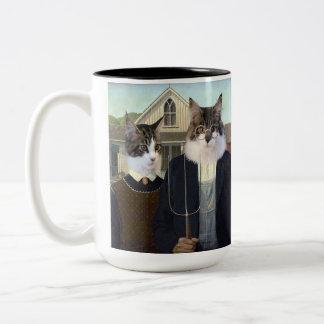 Taza divertida gótica americana del gato