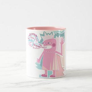 Taza divertida rosada del carácter del hablador