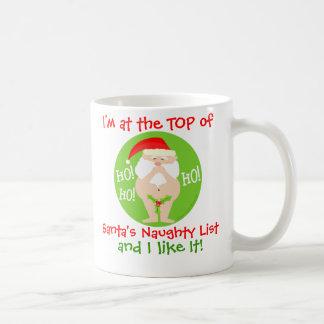 Taza divertida traviesa del navidad de Santa