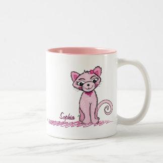 Taza dulce rosada del gato