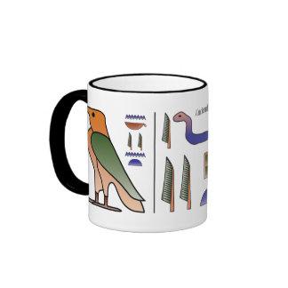 Taza egipcia antigua de los Hieroglyphics