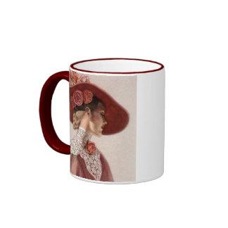 Taza elegante de señora Art Vintage Rose Hat del V