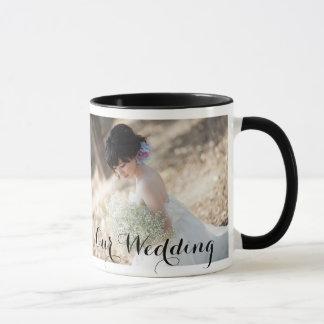 Taza elegante del boda con la foto