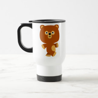 Taza enérgica linda del viajero del oso del dibujo