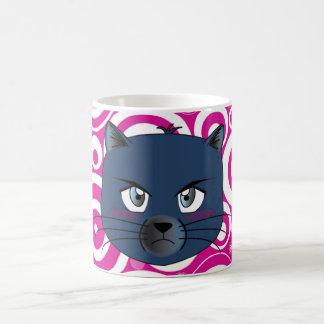 Taza enojada del gato azul