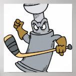 Taza enojada del hockey poster