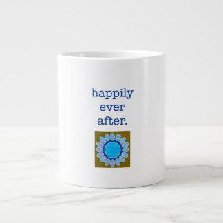 """Taza enorme """"feliz nunca después"""" de azul taza grande"""