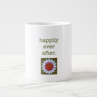 """Taza enorme """"feliz nunca después"""" de rosa taza grande"""
