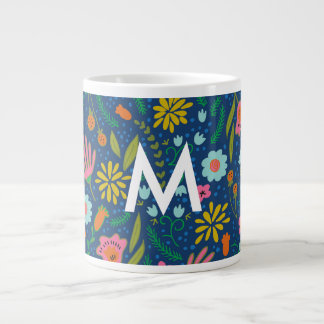Taza enorme floral del monograma inicial taza grande