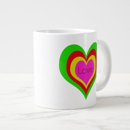 Taza enorme retra/taza del ~ 20oz de los corazones taza extra grande