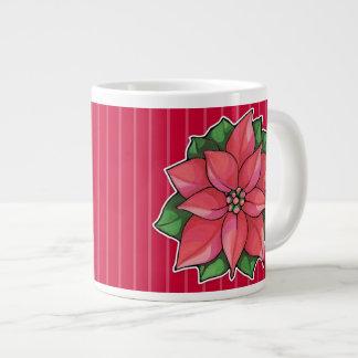 Taza enorme roja de la alegría del Poinsettia Tazas Extra Grande
