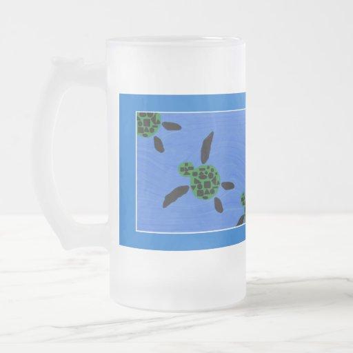 Taza escarchada tropical de la tortuga de mar