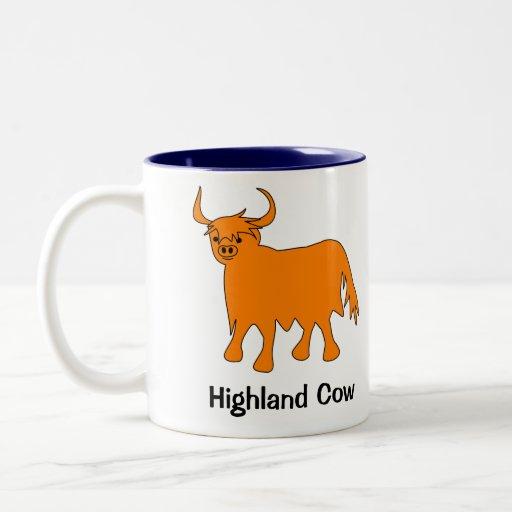 Taza escocesa de la vaca de la montaña con lema