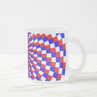 Taza espiral azul blanca roja del vidrio