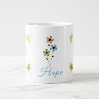 Taza-Fe-Esperanza-Amor-Mariposa-Flor enorme del ca Taza Grande