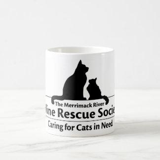 Taza felina de la sociedad del rescate del río de